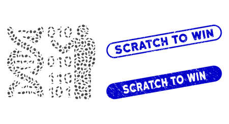 Mosaic DNA research and rubber stamp seals with Scratch to Win text. Mosaic vector DNA research is composed with scattered oval pieces. Scratch to Win stamp seals use blue color, Иллюстрация