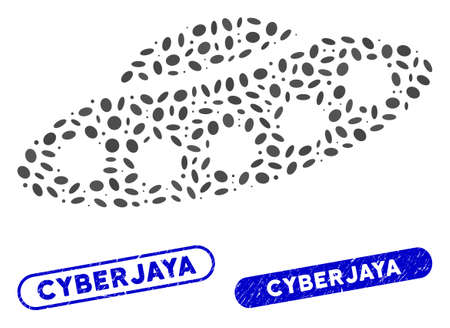 Mosaic UFO and corroded stamp seals with Cyberjaya caption. Mosaic vector UFO is composed with random oval items. Cyberjaya stamp seals use blue color, and have round rectangle shape.