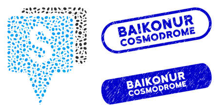 Mosaic bank map pointers and rubber stamp watermarks with Baikonur Cosmodrome text. Mosaic vector bank map pointers is created with randomized oval pieces.
