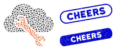 Mosaic repair and rubber stamp seals with Cheers caption. Mosaic vector repair is formed with random ellipse spots. Cheers stamp seals use blue color, and have round rectangle shape.