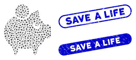 Mosaic piggy bank and grunge stamp seals with Save a Life text. Mosaic vector piggy bank is composed with random oval items. Save a Life stamp seals use blue color, and have round rectangle shape.