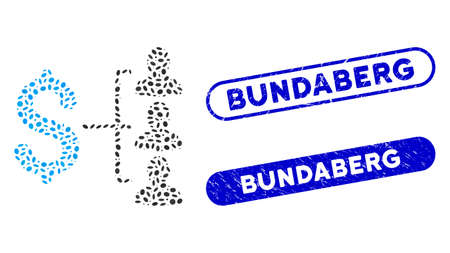 Mosaic money recipients and rubber stamp watermarks with Bundaberg phrase. Mosaic vector money recipients is composed with random elliptic spots. Bundaberg stamp seals use blue color,