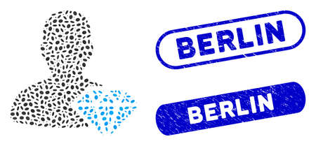 Mosaic goldsmith and rubber stamp watermarks with Berlin caption. Mosaic vector goldsmith is formed with scattered ellipse items. Berlin stamp seals use blue color, and have round rectangle shape.
