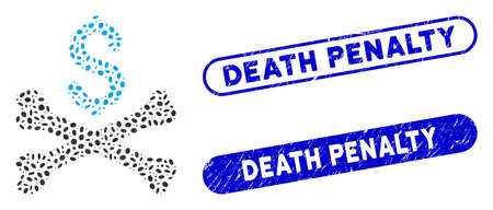 Mosaic mortal debt and corroded stamp seals with Death Penalty caption. Mosaic vector mortal debt is designed with scattered elliptic spots. Death Penalty stamp seals use blue color, Иллюстрация