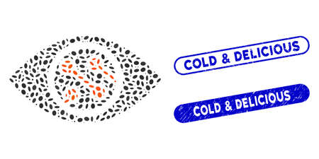 Mosaic smart lens and corroded stamp seals with Cold & Delicious phrase. Mosaic vector smart lens is formed with random ellipse dots. Cold & Delicious stamp seals use blue color, Иллюстрация
