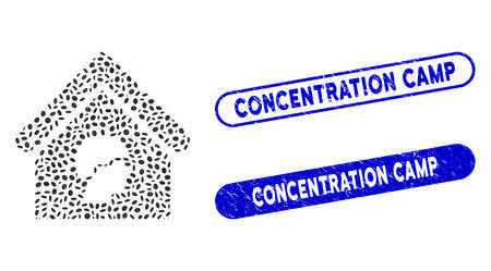 Mosaic barrack building and rubber stamp seals with Concentration Camp phrase. Mosaic vector barrack building is created with randomized oval elements. Concentration Camp stamp seals use blue color,