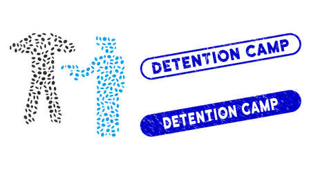 Collage arrest and grunge stamp seals with Detention Camp phrase. Mosaic vector arrest is formed with randomized ellipse parts. Detention Camp stamp seals use blue color,
