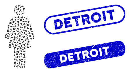 Mosaic woman and corroded stamp seals with Detroit caption. Mosaic vector woman is created with random oval spots. Detroit stamp seals use blue color, and have round rectangle shape.