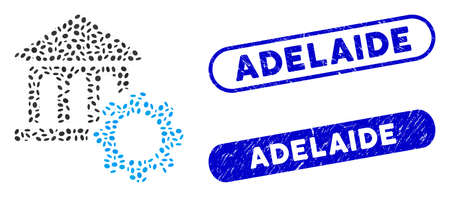 Mosaic bank options and distressed stamp seals with Adelaide phrase. Mosaic vector bank options is created with randomized elliptic items. Adelaide stamp seals use blue color, Ilustração