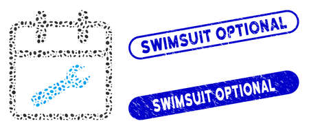 Mosaic service day and corroded stamp seals with Swimsuit Optional caption. Mosaic vector service day is composed with random ellipse dots. Swimsuit Optional stamp seals use blue color, Illustration