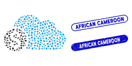 Mosaic banking cloud and distressed stamp seals with African Cameroon text. Mosaic vector banking cloud is composed with scattered ellipse dots. African Cameroon stamp seals use blue color,
