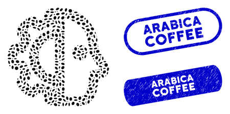 Mosaic cyborg and distressed stamp seals with Arabica Coffee caption. Mosaic vector cyborg is designed with random elliptic spots. Arabica Coffee seals use blue color, and have round rectangle shape. Иллюстрация