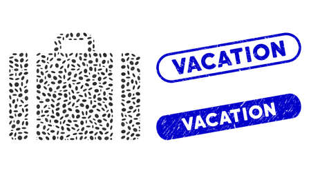 Mosaic baggage and grunge stamp seals with Vacation caption. Mosaic vector baggage is composed with random ellipse parts. Vacation stamp seals use blue color, and have round rectangle shape.