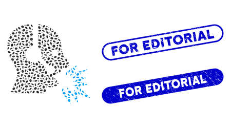 Mosaic operator shout and grunge stamp watermarks with For Editorial text. Mosaic vector operator shout is composed with randomized oval items. For Editorial stamp seals use blue color, Ilustrace