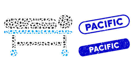 Collage patient stretcher and grunge stamp seals with Pacific phrase. Mosaic vector patient stretcher is composed with scattered oval parts. Pacific stamp seals use blue color,