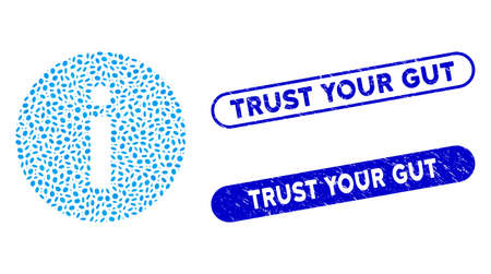 Mosaic info and rubber stamp seals with Trust Your Gut phrase. Mosaic vector info is created with randomized oval pieces. Trust Your Gut stamp seals use blue color, and have round rectangle shape. Vettoriali