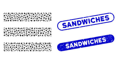 Mosaic menu items and rubber stamp seals with Sandwiches phrase. Mosaic vector menu items is created with randomized oval items. Sandwiches stamp seals use blue color, and have round rectangle shape. Иллюстрация