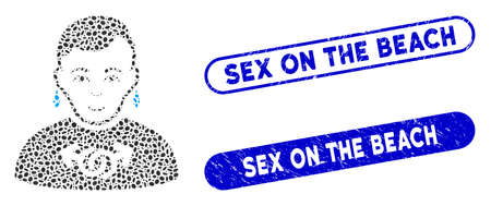 Mosaic gay and corroded stamp seals with Sex on the Beach text. Mosaic vector gay is created with scattered oval items. Sex on the Beach stamp seals use blue color, and have round rectangle shape.