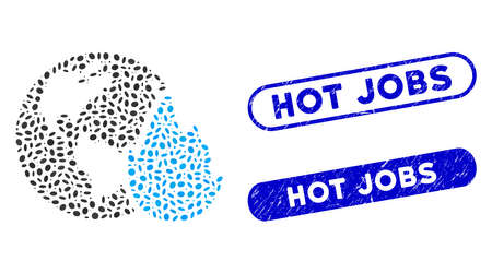 Mosaic planet flame and distressed stamp seals with Hot Jobs phrase. Mosaic vector planet flame is composed with random elliptic dots. Hot Jobs seals use blue color, and have round rectangle shape. Ilustrace