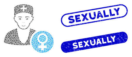 Collage gynecologist doctor and corroded stamp seals with Sexually text. Mosaic vector gynecologist doctor is formed with random oval parts. Sexually stamp seals use blue color,