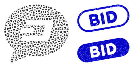 Mosaic Dash message balloon and grunge stamp seals with Bid text. Mosaic vector Dash message balloon is created with randomized elliptic dots. Bid stamp seals use blue color,