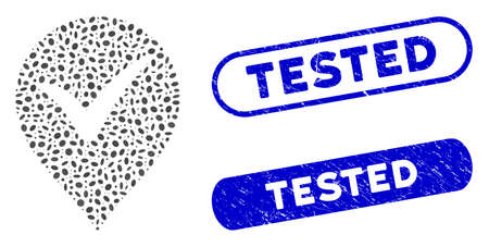 Mosaic OK marker and distressed stamp watermarks with Tested text. Mosaic vector OK marker is composed with random oval dots. Tested stamp seals use blue color, and have round rectangle shape. Ilustrace