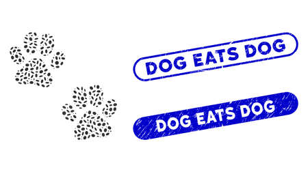 Mosaic paw footprints and grunge stamp seals with Dog Eats Dog caption. Mosaic vector paw footprints is composed with randomized elliptic dots. Dog Eats Dog stamp seals use blue color,