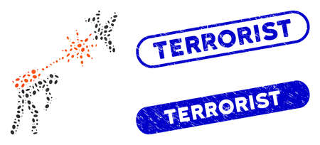 Mosaic terrorist strikes aircraft and distressed stamp seals with Terrorist text. Mosaic vector terrorist strikes aircraft is formed with random elliptic parts. Terrorist stamp seals use blue color,