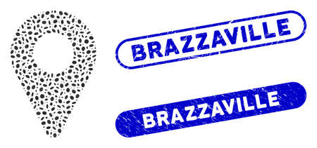 Mosaic map marker and corroded stamp seals with Brazzaville caption. Mosaic vector map marker is formed with randomized elliptic items. Brazzaville stamp seals use blue color,