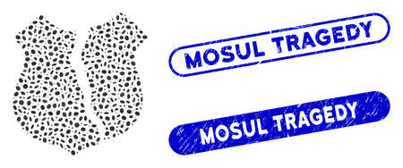Mosaic destroyed shield and rubber stamp seals with Mosul Tragedy text. Mosaic vector destroyed shield is composed with scattered ellipse dots. Mosul Tragedy seals use blue color, Ilustrace