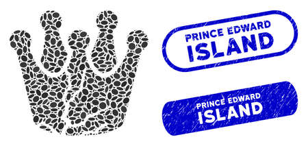 Mosaic corrupted monarchy and distressed stamp seals with Prince Edward Island phrase. Mosaic vector corrupted monarchy is created with random oval items. Ilustrace