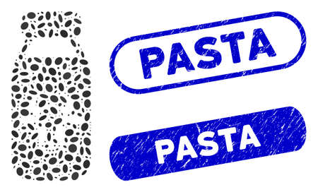 Mosaic cow milk and grunge stamp seals with Pasta caption. Mosaic vector cow milk is composed with randomized elliptic spots. Pasta stamp seals use blue color, and have rounded rectangle shape.