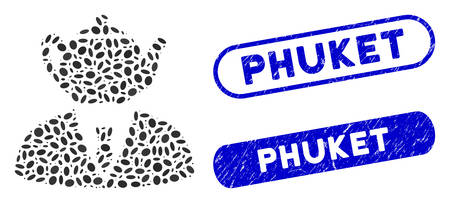 Mosaic dummy person and distressed stamp seals with Phuket caption. Mosaic vector dummy person is composed with random elliptic dots. Phuket stamp seals use blue color, and have round rectangle shape.