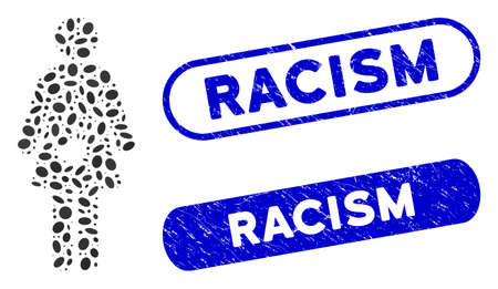Mosaic female harassment and rubber stamp seals with Racism caption. Mosaic vector female harassment is created with randomized oval items. Racism seals use blue color, Ilustrace