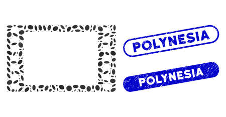 Collage film frame and grunge stamp seals with Polynesia text. Mosaic vector film frame is created with random ellipse spots. Polynesia stamp seals use blue color, and have rounded rectangle shape.