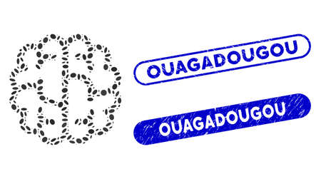 Mosaic brain and distressed stamp seals with Ouagadougou text. Mosaic vector brain is formed with randomized oval dots. Ouagadougou stamp seals use blue color, and have rounded rectangle shape. Ilustracja