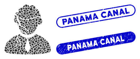 Collage corrupted judge and corroded stamp seals with Panama Canal caption. Mosaic vector corrupted judge is created with random oval items. Panama Canal stamp seals use blue color,