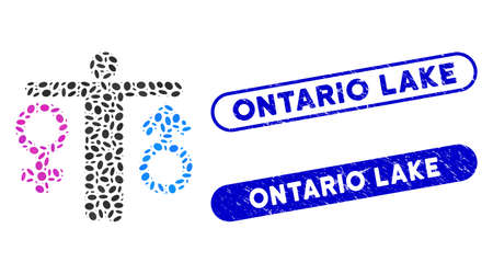 Mosaic bisexual man and corroded stamp seals with Ontario Lake caption. Mosaic vector bisexual man is composed with random ellipse spots. Ontario Lake stamp seals use blue color,