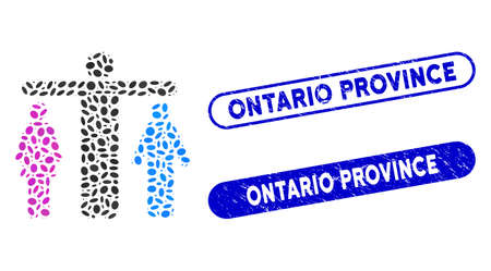 Mosaic bisexual person and grunge stamp watermarks with Ontario Province phrase. Mosaic vector bisexual person is composed with random oval items. Ontario Province seals use blue color, 일러스트