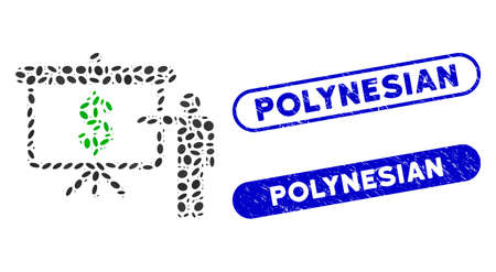 Mosaic financial education and grunge stamp seals with Polynesian text. Mosaic vector financial education is designed with scattered oval elements. Polynesian stamp seals use blue color,