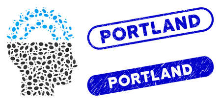 Mosaic gear engineer and grunge stamp seals with Portland caption. Mosaic vector gear engineer is formed with randomized elliptic spots. Portland stamp seals use blue color, Ilustracja