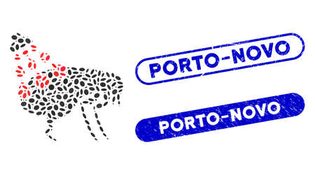 Mosaic get rid of fleas and grunge stamp seals with Porto-Novo phrase. Mosaic vector get rid of fleas is designed with scattered elliptic dots. Porto-Novo stamp seals use blue color, 矢量图像