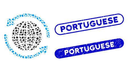 Mosaic global delivery and corroded stamp watermarks with Portuguese caption. Mosaic vector global delivery is composed with scattered elliptic items. Portuguese stamp seals use blue color,