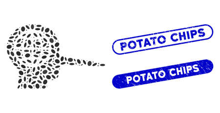 Mosaic global liar and grunge stamp seals with Potato Chips caption. Mosaic vector global liar is formed with randomized elliptic spots. Potato Chips stamp seals use blue color, Illustration