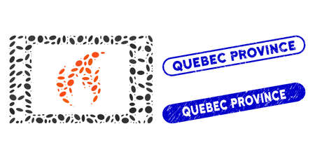 Collage hot movie and corroded stamp seals with Quebec Province text. Mosaic vector hot movie is created with scattered elliptic elements. Quebec Province stamp seals use blue color,
