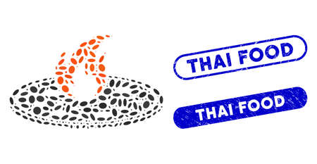Mosaic hot pizza and grunge stamp watermarks with Thai Food phrase. Mosaic vector hot pizza is formed with randomized elliptic dots. Thai Food stamp seals use blue color, Ilustração