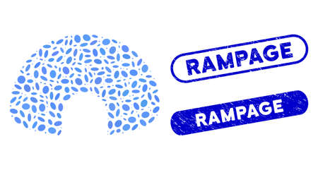Mosaic igloo and rubber stamp seals with Rampage phrase. Mosaic vector igloo is created with randomized oval spots. Rampage stamp seals use blue color, and have rounded rectangle shape.