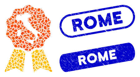 Mosaic italian quality and distressed stamp watermarks with Rome caption. Mosaic vector italian quality is formed with scattered elliptic elements. Rome stamp seals use blue color,