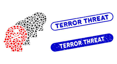Mosaic kill all humans and distressed stamp seals with Terror Threat text. Mosaic vector kill all humans is formed with scattered ellipse items. Terror Threat stamp seals use blue color,