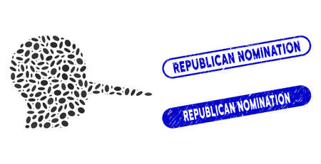 Mosaic liar and rubber stamp seals with Republican Nomination text. Mosaic vector liar is designed with random elliptic elements. Republican Nomination stamp seals use blue color, Illustration